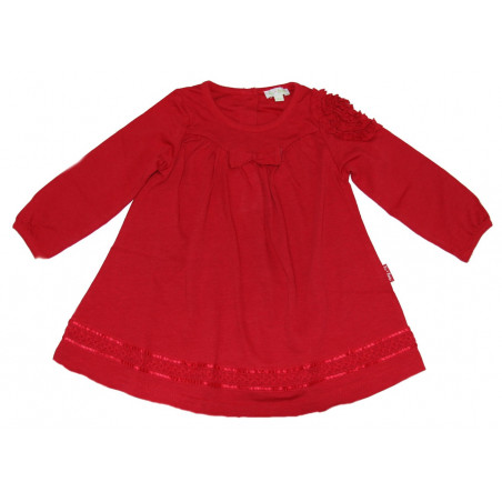 LeTop Baby-girls Red Knit Dress w/Ruching & Hem Trim