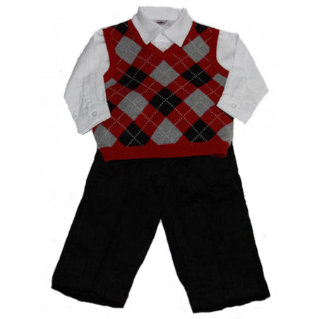 Good Lad Baby-boys 3 Pc. Plaid Sweater Vest, Shirt, Pants Set