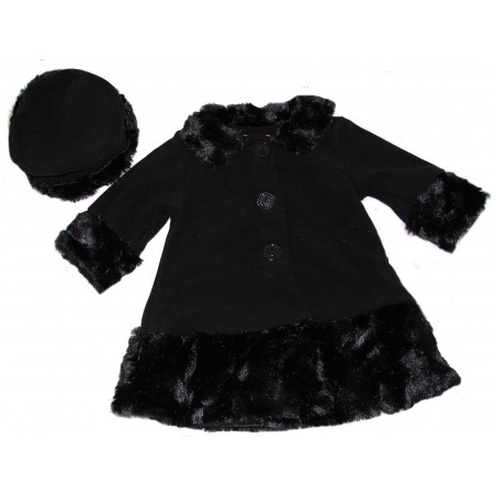 Good Lad Baby-girls Black Fleece w/Faux Fur Trim Coat