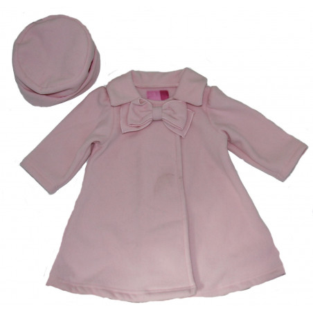 Good Lad Baby-girls Pink Fleece Bow Coat