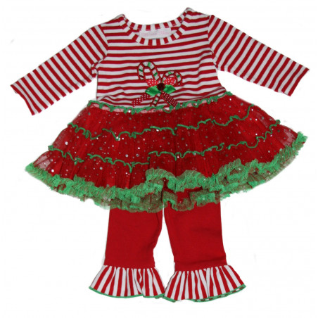 Bonnie Baby Bby-girls Red Candy Cane Tutu Set