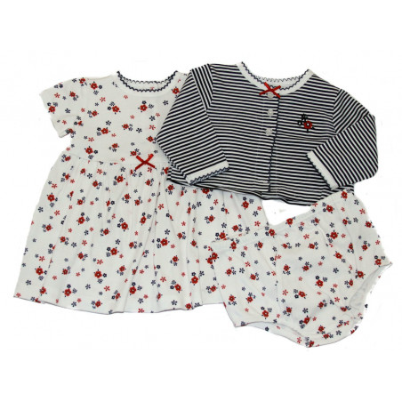 Little Me baby-girls Red & Navy Floral Knit 3 Piece Set