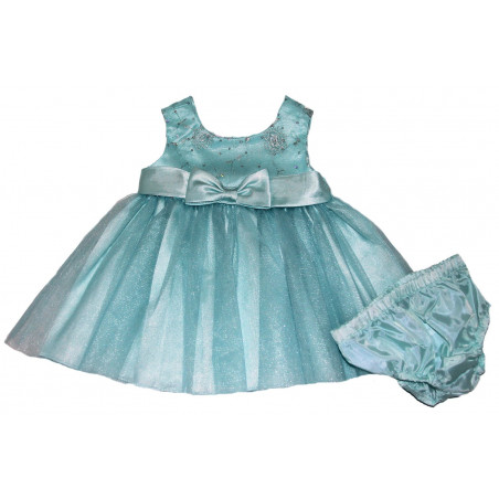Bonnie Baby Baby-girls Turquoise Spangled Bodice Dress