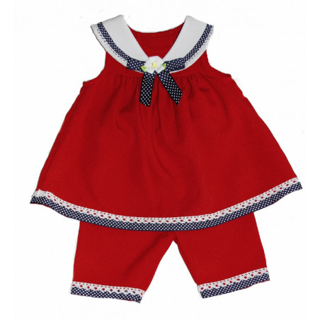 Bonnie Baby Baby-girls Red Lace Nautical Dress w/ Capri