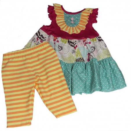 Molly & Millie Baby-girls Multi Colors Dress & Capri Set