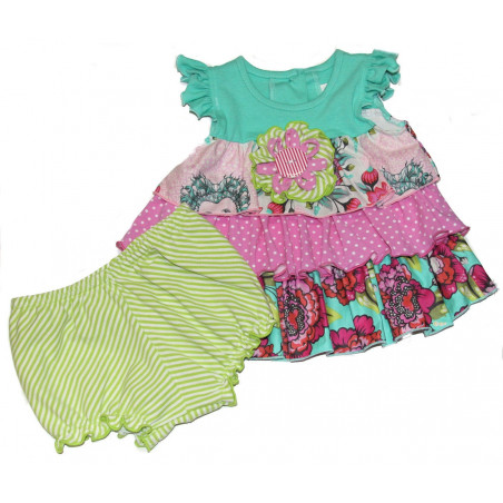 Molly & Millie Baby-girls Multi Print Knit Dress with Diaper Cover