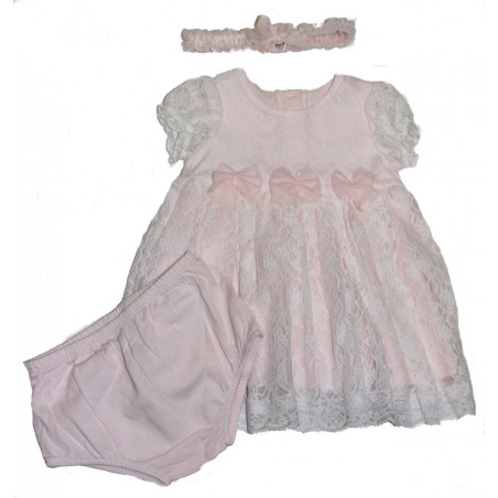 Little me Baby-girls Pink Lace Dress w/DC & Headband