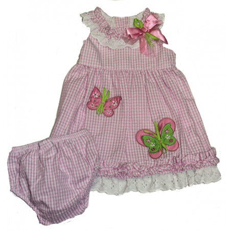 Rare Editions Butterfly Dress & Diaper Cover Set