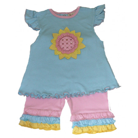 Zubels Baby-girls Knit Sunflower Capri Set