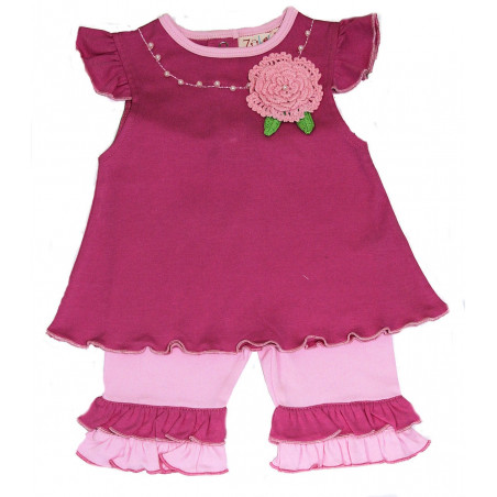 Zubels Baby-girls Knit Crocheted Flower Capri Set