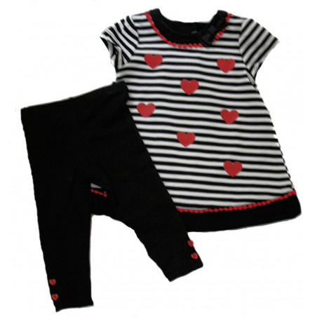Little Me Baby-girls Stripes w/Hearts Knit Dress & Leggings