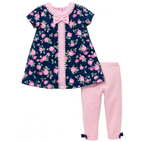 Little Me Baby-girls Rose Knit Dress with Leggings