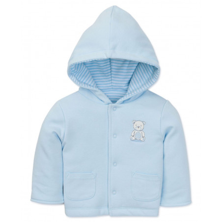 Little Me Baby-boys Blue Reversible Knit Hooded Jacket