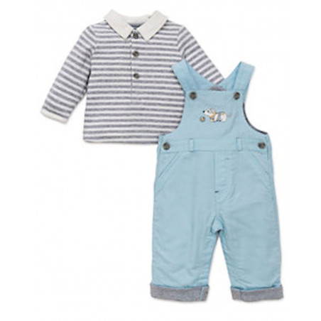 Little Me Lt. Blue Corduroy Overall w/ LS Collared Shirt
