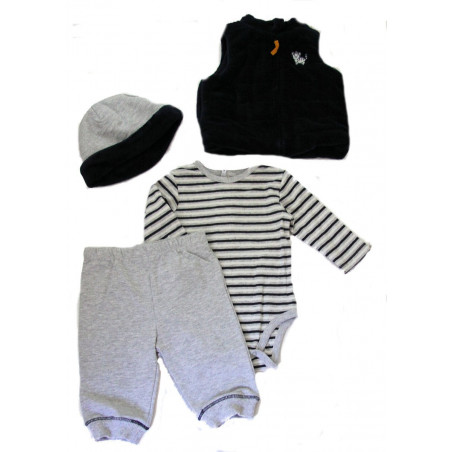 Little Me Dark Navy and Gray Tiger Vest Set