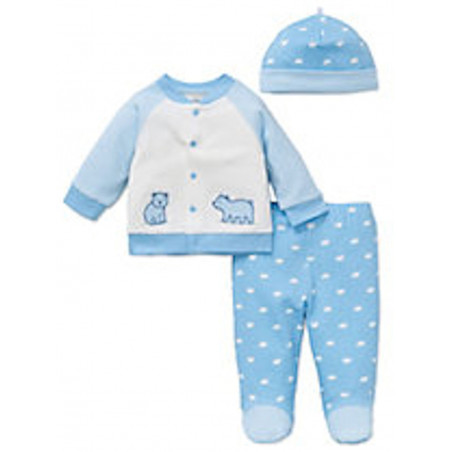 Little Me baby-boys Blue Bear 3 Piece Knit Set