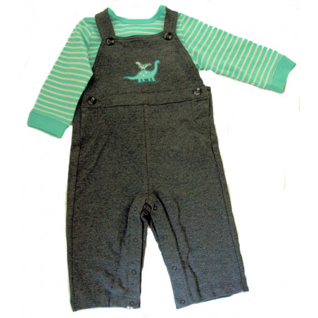 Little Me Baby-boys Dino Knit Overall with Long Sleeve Shirt