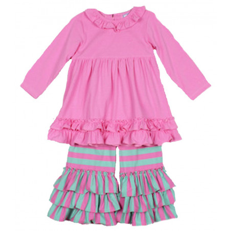 Three Sisters Pink Ruffles Dress & Pants Set