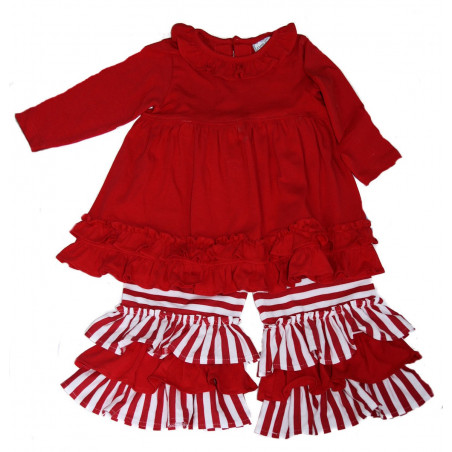Three Sisters Red Knit Dress and Stripe Pants Set
