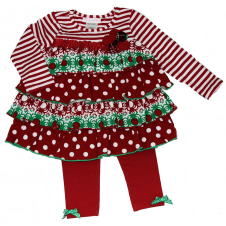 Bonnie Baby Tiered Ruffle Dress with Leggings