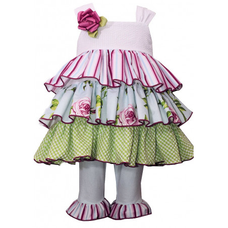 Bonnie Baby Seersucker Tiered Skirt Dress Set