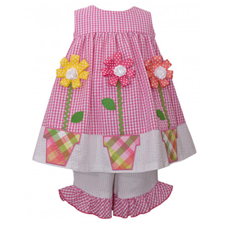 Bonnie Baby Seersucker Flower Pot Dress Set