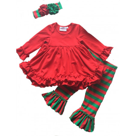 Serendipity Red Ruffle Dress and Stripe Leggings