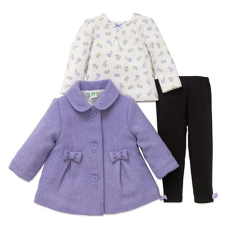 Little Me Lilac Bow Coat and Leggings Set