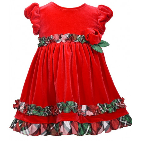 Bonnie Baby Red Velvet Dress w/Plaid Ruching Ruffles