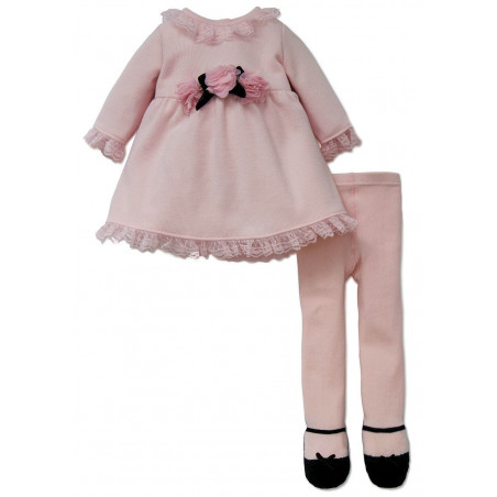 Little Me Soft Pink Sweater Dress and Tights