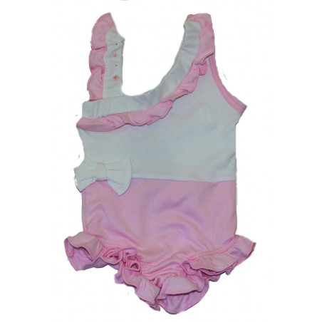 Little Italy Baby-girls Pink and White Knit Swimsuit
