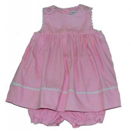 Petit Ami Pink Corduroy Rick Rack Jumper with Diaper Cover