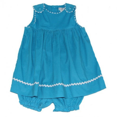 Petit Ami Turquoise Corduroy Rick Rack Jumper with Diaper Cover
