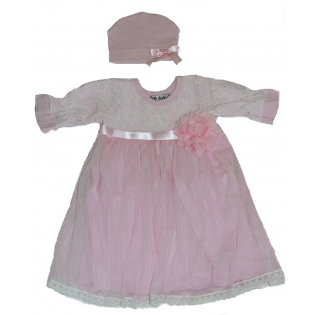 BeBe Gabrielle Baby-girls Knit & Tulle Dress w/Hat