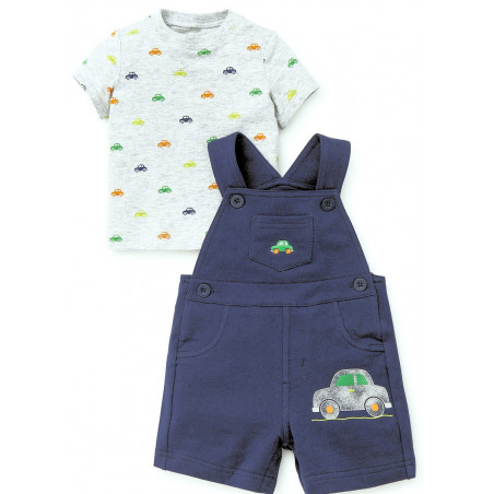 Little Me Knit Cars Shortall w/Shirt