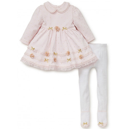 Little Me Pink Sparkle Knit Dress with Tights