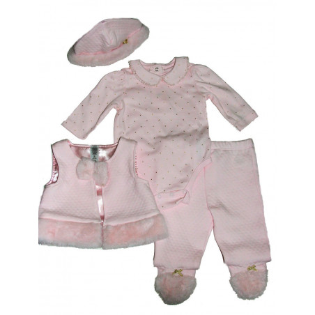 Little Me Baby-girls Faux Fur Trim Vest Set
