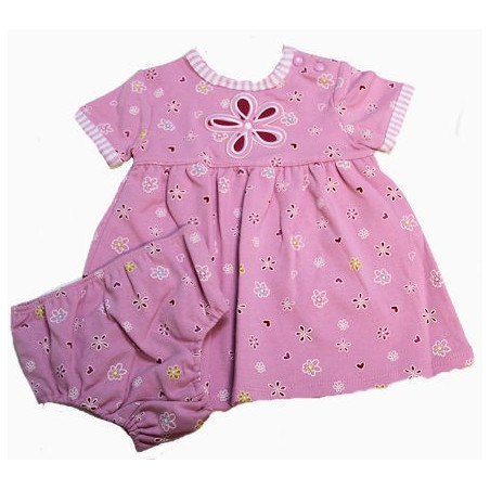Kushies Organic Infant Girl Daisies & Hearts Dress w/DC