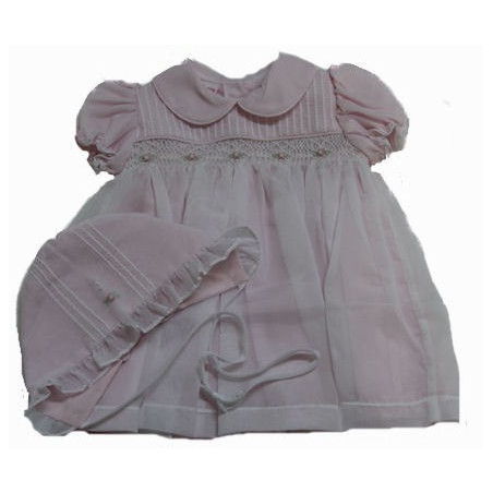White Organza Dress w/Bonnet Infant Girl Will'beth