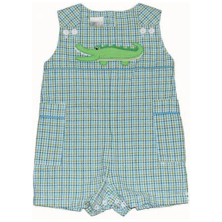 ZU Plaid 6-9 MO Boy Seersucker Alligator Sunsuit