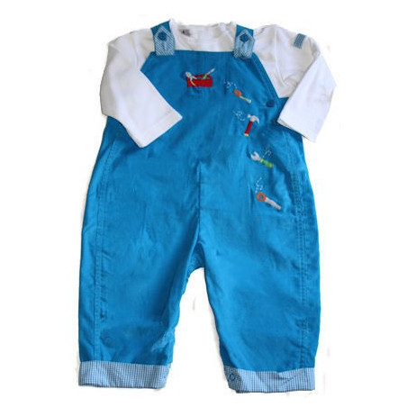 Petit Ami Tool Box Infant Boy Long Corduroy Overalls & LS Shirt