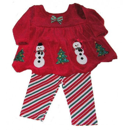 Bonnie Jean 0-9 Mo. Snowman Dress w/Leggings