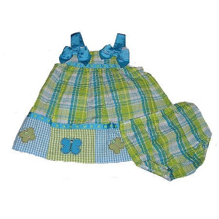 0-9MO Girls Plaid, Checks, & Dots Sundress by Bonnie Jean