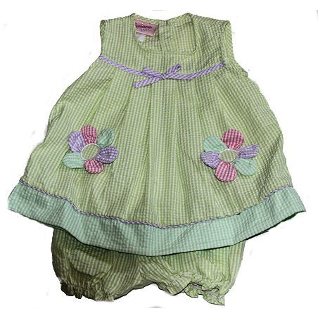 Samara 12-24 MO Lime Daisy Seersucker Dress w/DC
