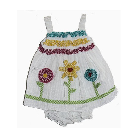 Good Lad 3-24 Mo White Ruffles & Flowers Sundress